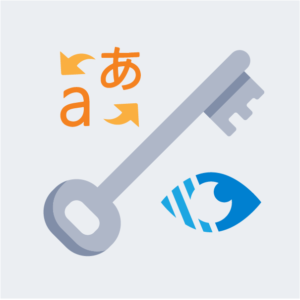 A large key with translation icon and visibility icon either side