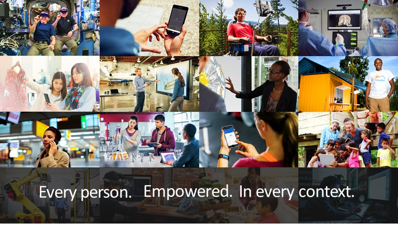 "Multiple images of people interacting with technology with the text ""Every Person. Empowered. In every context"""